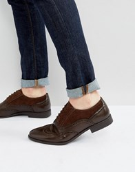 Asos Brogue Shoes In Brown Faux Leather And Faux Suede Detail