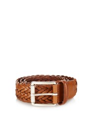 Andersons Woven Leather Belt Brown