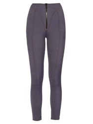 Lisa Marie Fernandez Yoke Zip Front High Waisted Leggings Denim
