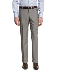 Isaia Unito Wool Flat Front Trousers Blue