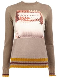 Undercover Blurred Woman Intarsia Jumper Nude And Neutrals