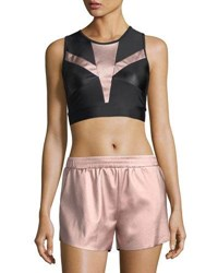 Lanston Zoe Metallic Block Performance Sports Bra Pink Gold