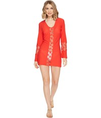 Luli Fama Cosita Buena Crochet Cut Out Plunge V Neck Dress Cover Up Girl On Fire Women's Swimwear Red