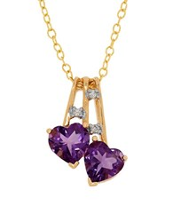 Lord And Taylor Diamonds Amethyst 14K Yellow Gold Dual Heart Pendant Necklace Purple