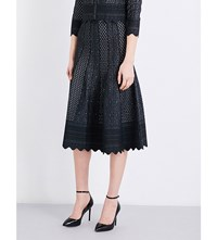 Alexander Mcqueen High Rise Lace Knit Skirt Black Ivory
