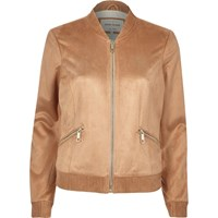 River Island Womens Tan Faux Suede Bomber Jacket