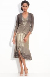 Women's Komarov Pleated Satin And Chiffon Dress With Jacket Almond Ombre