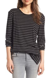Women's Bp. Side Slit Tee Black Joannie Stripe
