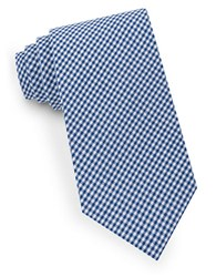 Lord And Taylor Checked Cotton Tie Blue