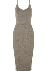 James Perse Ribbed Stretch Cotton Midi Dress Gray