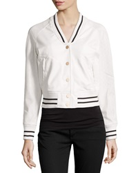 Raison D'etre Faux Leather Long Sleeve Baseball Jacket Ivory