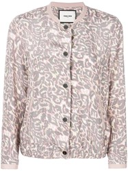 Max And Moi Leopard Print Bomber Jacket Pink And Purple