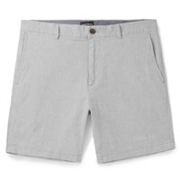 Club Monaco Baxter Slim Fit Stretch Linen And Cotton Blend Chambray Shorts Gray