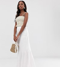 Asos Design Tall Cheesecloth Tiered Summer Maxi Skirt White