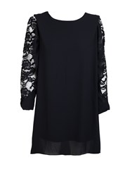 Feverfish Chiffon Lace Sleeve Tunic Black