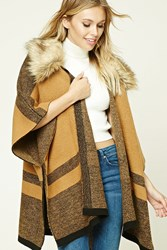 Forever 21 Striped Faux Fur Trimmed Shawl Camel Black