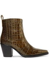Ganni Callie Croc Effect Leather Ankle Boots Forest Green