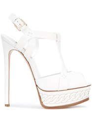 Casadei Chain Detail Sandals Women Calf Leather Leather Kid Leather 39 White