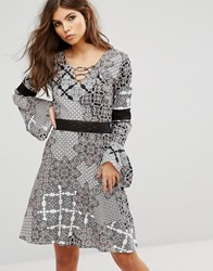 Rock And Religion Paisley Lace Up Front Swing Dress Paisley Multi