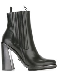 Versace Stacked High Heel Ankle Boots Black