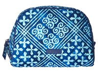 Vera Bradley Large Zip Cosmetic Cuban Tiles Luggage Blue