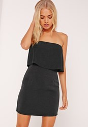 Missguided Pleated Bandeau Bodycon Dress Black