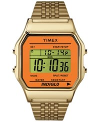 Timex Unisex Digital Gold Tone Stainless Steel Bracelet Watch 34Mm Tw2p65100