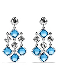 David Yurman Sculpted Cable Chandelier Earrings With Blue Topaz Silver Blue