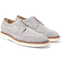 Tod's Suede Longwing Brogues Gray