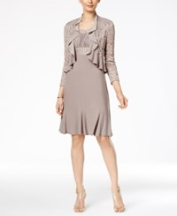 R And M Richards Metallic A Line Dress Ruffled Jacket Mocha