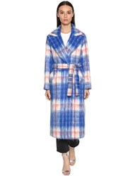 Giada Benincasa Long Checked Mohair Blend Coat Red