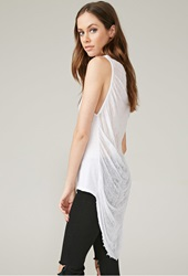 Forever 21 Marina T Shredded Sheer Back Tank White