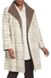 Ellen Tracy Plus Size Women's Colorblock Wool Blend Wrap Coat