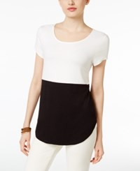Alfani Colorblocked T Shirt Only At Macy's Black White Colorblock