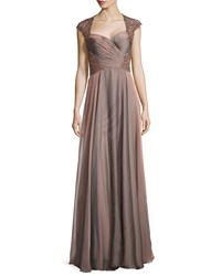 La Femme Ruched Bodice Sweetheart Gown Cocoa Brown