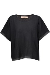 Marni Two Tone Cotton Blend Gauze T Shirt Black
