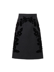 Dolce And Gabbana Flocked Wool Blend A Line Skirt