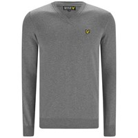 Lyle And Scott Vintage Men's Long Sleeve V Neck Cotton Pullover Mid Grey Marl