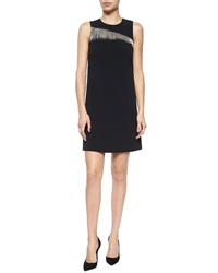 Andrew Gn Asymmetric Beaded Fringe Shift Dress