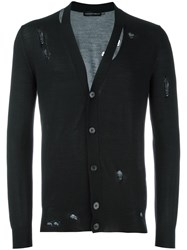 Alexander Mcqueen Distressed Cardigan Black