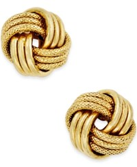 Macy's Love Knot Polished And Textured Stud Earrings In 14K Gold