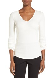 Nordstrom Women's Collection Rib Knit V Neck Top Ivory Cloud