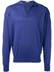 Boglioli V Neck Jumper Blue
