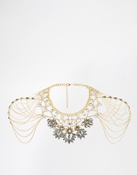 Little Mistress Statement Necklace With Shoulder Chain Details Gold