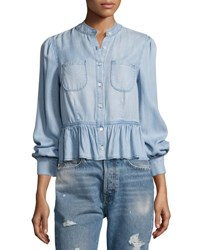 Frame Double Pocket Peplum Denim Blouse Blue