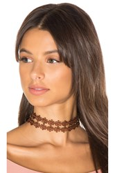 Ettika Leather Daisy Choker Brown