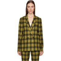 6397 Yellow Plaid Double Breasted Blazer