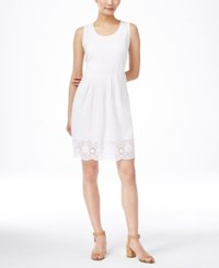 Styleandco. Style And Co. Sleeveless Eyelet Hem Dress Only At Macy's Bright White