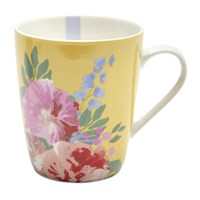 Joules Hollyhock Meadow China Mug Yellow Floral