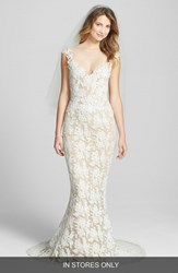 Reem Acra Women's 'Eve' Illusion Yoke Embroidered Lace Column Gown Cream Nude